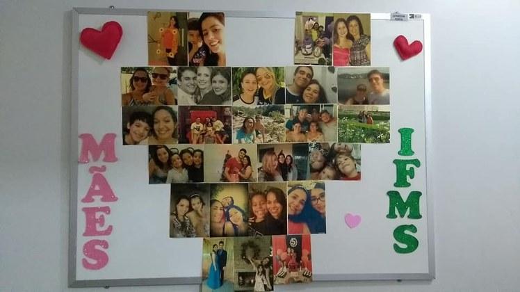 Mural de fotos com imagens das servidoras e seus filhos.